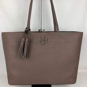 New Tory Burch McGraw Silver Maple Leather Tote